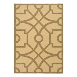 "Martha Stewart Living - Martha Stewart Area Rug: Fretwork Sand/Coffee 5' 3"" x 7' 7"" Indoor/Outdoor - Shop for Flooring at The Home Depot. The Martha Stewart Living Fretwork Sand/Coffee 5 ft. 3 in. x 7 ft. 7 in. Indoor/Outdoor Area Rug features 100% polypropylene construction with UV protection for durability. A great accent for your space, this beautiful rug is machine woven in Belgium. Designed for both indoor and outdoor use, this versatile rug is mildew and mold resistant and cleans easily with a garden hose."