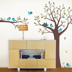 Tree with Bird Family - Bring life to that plain wall with this cute and simple tree with birds and nest. Perfect for the kids room!