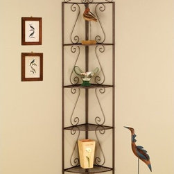 Wildon Home � - 4 Tier Corner Shelf - Features: -Four-tier corner shelf: perfect storage or display solution for small spaces.-Goldish Copper finish.-Distressed: No.Dimensions: -Dimensions: 70.5'' H x 19.5'' W x 15'' D.