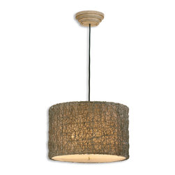 Uttermost - Knotted Rattan Light Drum Pendant - Bring a natural element to your lighting without sacrificing style. Freeform knotted rattan bedecks a simple drum shade for a look that's both modern and comfortably chic.