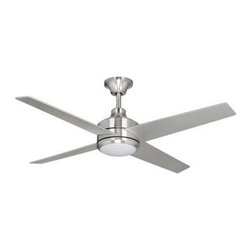 Hampton Bay - Indoor Ceiling Fans: Hampton Bay Mercer 52 in. Brushed Nickel Ceiling Fan 14925 - Shop for Lighting & Fans at The Home Depot. Add a contemporary look to your home with the Hampton Bay Mercer 52 in. Brushed Nickel Ceiling Fan. This 3-speed fan features 4 blades to help move air efficiently, with quiet, wobble-free operation. The light kit offers etched opal glass and includes a halogen bulb to provide brilliant illumination. The handy remote control provides independent light and speed controls.