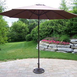 Oakland Living - 9 ft. Umbrella w Crank and Tilt in Brown - Ro - Made of Durable Metal and Poly Material Construction. Easy to follow assembly instructions and product care information. Stainless steel or brass assembly hardware. Fade, chip and crack resistant. 1 year limited. Lightweight and constructed of durable metal and poly material for years of beauty. Brown Color for years of beauty. Brown finish. Some assembly required. 108 in. W x 108 in. L x 100 in. H (45 lbs.)This umbrella set will be a beautiful addition to your patio, balcony or outdoor entertainment area. Our umbrella sets are perfect for any small space, or to accent a larger space.