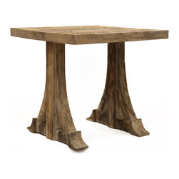 Kathy Kuo Home - Bois Rustic Country French Teak Side Accent Table - This quaint coffee table brings a touch of the outdoors (or the magical forest) into your home. Its sturdy teak construction and thick curved beam supports make it a gorgeous rustic accent to your cottage style decor, and a table you can actively use. Save the coasters and savor the conversation with your guests.