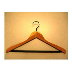 Proman Products - Set of 12 Cedar Concave Suit Hanger w PVC Rib - Set of 12. Natural finish. PVC Ribbed Bar