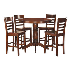 Homelegance - Homelegance Wayland 5-Piece Counter Dining Room Set in Antique Oak - Your dining space is the hub of your home. The Wayland collection features a transitional pedestal base that, at Counter height level, lends a casual feel to this 5-Piece offering. The table and ladder-back chairs are featured in an antique oak finish, further enhancing the Transitional style. Also available in regular dining height.
