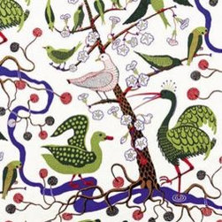 Green Birds Fabric by Josef Frank - No one has ever quite matched the exuberance and creativity of Josef Frank's fabric, which has been wildly popular again lately. This print was originally designed in 1944.