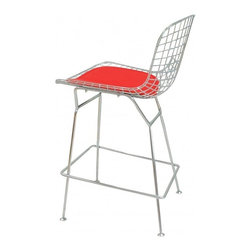 Bertoia Style Counter Barstool, Red - The Bertoia style bar tool now comes in counter height. The frame of our Bertoia counter stool is a high quality polished steel wire mesh with chrome legs. The making of most modern classic furniture requires much skilled hand labor and various different production steps. Our overseas factories aim to reproduce these beautiful and Modern Classic Furniture in a way so you can enjoy them for years to come.