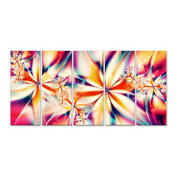 "Fabuart - Pink Floral Art on Canvas- 60""W X 28""H - 5 Piece - This canvas artwork is printed in high quality fade resistant ink on premium quality cotton canvas. This abstract design is sure to be the center piece of any room it is placed in. All of our graphic canvas prints are gallery-wrapped around solid wood subframes, carefully packaged and arrive to you, ready to hang on the wall. Our printing technology allows for a crisp, deep canvas print which is never pixelated."