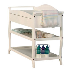 Stork Craft - Stork Craft Aspen Sleigh Changing Table with Drawer in White - Stork Craft - Baby Changing Tables - 00524581 - Your baby deserves the best. Your child's safety is our greatest concern. Stork Craft strives to exceed your expectations in the areas of safety performance usability and style. All Stork Craft products meet or exceed domestic and international regulatory standards for juvenile furniture safety and performance and are carefully designed to mitigate the risks of potential hazards to your child.