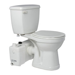 Saniflo - Saniflo 013-003-005 Two Piece Round Bowl Toilet with Grinder Pump White - Unlike the rest of the Saniflo pump range which work on a macerator the Sanibest uses an actual grinder system. The Sanibest is meant for situations where what goes down the toilet is out of your control. It is ideal for rental units, offices, warehouse and public bathrooms. The Sanibest was created to deal with foreign sanitary articles that were flushed down the toilet.The sanibest allows you to install a bathroom 18 feet below the sewer line or 150 feet away from the soil stack. It can handle gray water waste from a toilet, sink, bathtub, shower and even a washing machine when connected through an indirect connection.Key features:    - Build a complete bathroom 18 feet below the sewer line or 150 feet away from a soil stack.    - Simple installation- only 4 connections to install        The grinder pump is connected to the spigot of a horizontal rear discharge toilet        The toilet tank is connected to the water supply        The grinder pump is connected to the small diameter discharge pipe work        The grinder pump is connected to the electrical supply    - 10-20 second operating cycle resulting in minimal power consumption    - Sanibest automatically adjusts the input rate from other fixtures (priority to toilet water)The inside of the Sanibest is comprised of a pressure chamber, which starts and stops the unit, and the motor, which drives the stainless steel cutting blade and the pump. When the flush is activated, the water flowing into the Sanibest activates a micro switch in the pressure chamber, which in turn starts the motor. The motor is sealed for life in an oil filled enclosure. A common spindle/shaft drives the impeller and the blades. The moving parts therefore are kept to an absolute minimum. Water and organic waste matter, enter the chamber and are reduced to slurry as the blades rotate at 3600 RPM. The reduced solids are picked up at the bottom and the impeller mounted beneath the motor ejects the waste.The unit pumps the effluent upward to 18 feet and/or 150 feet horizontally (with gravity fall). Once the water level in the container goes down, the micro switch deactivates. A normal operating cycle for the Sanibest takes about 7-9 seconds depending upon the discharge pipe run configuration.