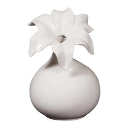 Howard Elliott - Howard Elliott 12106 Glossy White Ceramic Vase w/ Flower Detail-Short - 12106 Glossy White Ceramic Vase w/ Flower Detail-Short belongs to Collection by Howard Elliot This elegant ceramic vase is finished in a glossy white and features a flowered opening. Vase (1)