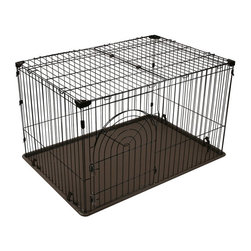Other Brands - IRIS Deluxe Wire Containment Pen - 301810 - Shop for Accessories and Parts from Hayneedle.com! The IRIS Deluxe Wire Containment Pen offers all you need for housing or tansporting your pet. Made of heavy-gauge epoxy coated steel wire. A molded bottom tray with on-skid rubber feet. Sylish access door with postive-lock latching system no hardware or tools needed. Double opening roofs on the 3 largest models. Arched or straight door depending on the model style. Style features: Small: 301810: No roof clip & latch system silver metal finish with light brown tray Arched access door. Dimensions: 23.6L x 17.7W x 15.9H in. Medium: 301811: Double-opening roof silver metal finish with almond tray straight edge access door with positive-lock latch system. Dimensions: 35.4L x 23.5W x 21.7H in. Large: 301812: Double-opening roof brown metal finish clip & latch system Arched access door dark brown tray. Dimensions: 35.4L x 23.6W x 22.4H in. X-Large: 301813: Double-opening roof brown metal finish clip & latch system Arched access door with positive-lock latching system dark brown tray. Dimensions: 44.5L x 31.0W x 25.7H in.