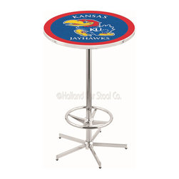 Holland Bar Stool - Holland Bar Stool L216 - 42 Inch Chrome Kansas Pub Table - L216 - 42 Inch Chrome Kansas Pub Table  belongs to College Collection by Holland Bar Stool Made for the ultimate sports fan, impress your buddies with this knockout from Holland Bar Stool. This L216 Kansas table with retro inspried base provides a quality piece to for your Man Cave. You can't find a higher quality logo table on the market. The plating grade steel used to build the frame ensures it will withstand the abuse of the rowdiest of friends for years to come. The structure is triple chrome plated to ensure a rich, sleek, long lasting finish. If you're finishing your bar or game room, do it right with a table from Holland Bar Stool.  Pub Table (1)