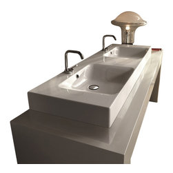"WS Bath Collections - Cento 3536 Wall Hung or Counter Top Ceramic Sink 55.1"" x 17.7"" - Cento by WS Bath Collections Bathroom Sink 55.1 x 17.7, Designed by Marc Sadler of Italy, wall hung or counter top installation, in ceramic white"