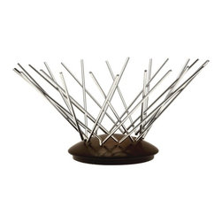 "Legnoart - Legnoart Snow Flake Fruit Basket - Dark Ash Wood - A curved Ash wood base with several individual stainless steel bars splaying out from the edges creating a sculptural fruit basketRubber stoppers on base prevent wood from scratching the surface where piece stands. Dimensions: 13.25"" W x 6.5"" tall x (32.5 x 16 cm). Designed by Carlo Contin. . Made in Italy.."