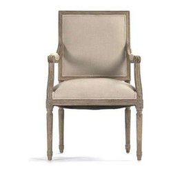 """Zentique - Louis Arm Chair by Zentique - The Louis Arm Chair is one of our most popular dining chairs. Featuring a square back with comfortable foam filling seats, this style of chair is upholstered in Natural Linen and framed in lime gray oak wood. (ZEN) 25"""" wide x 21.5"""" deep x 40"""" high"""