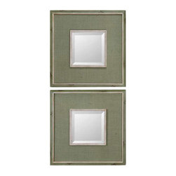 Uttermost Sheridan Green Mirror Set/2 - Rusty laurel green fabric with matching frame edge accented with aged ivory details. Rusty, laurel green fabric with matching frame edge accented with aged ivory details. Mirror is beveled.
