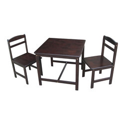 International Concepts - International Concepts 3 Piece Kids Table and Chair Set in Rich Mocha - International Concepts - Kids' Table & Chair Sets - JT152027 - This table and chair set from International Concepts will make the perfect activity center for your young ones.  It is composed of durable solid wood and includes one table and two chairs.
