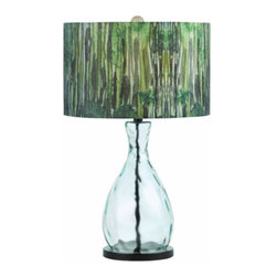 """AF Lighting - AF Lighting Trees Green Water Glass Table Lamp with Hand Printed Shade - AF Lighting 8275-TL Horizon Series """"Trees"""" Table Lamp with Hand Printed Shade and 3-Way Switch, Finished in Blown Glass"""