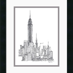 Amanti Art - Empire State Framed Print by Avery Tillmon - Add an urban note to your decor with this charming drawing of the Empire State Building, one of the primary landmarks of New York City.