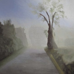 Road In The Mist (Original) by Gloria Cigolini - This oil painting captures the early morning mist as it envelopes everything around it. The defused light creates a mysterious feeling as it hangs heavily wet with dew.