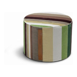 """Missoni Home - Kyushu Cylindrical Pouf 16"""" - Features: -The Erbario Collection. -Available in Kushiro and Kyushu fabrics. -Removable cover. -Patent leather handle. -Kushiro material: 100% Cotton. -Kyushu material: 83% Cotton - 11% Polyester - 6% Viscose. -Overall Dimensions: 12"""" H x 16"""" W."""