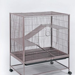 "Prevue Hendryx - Rat / Chinchilla / Ferret Cage - Features: -Reddish-brown finish. -Rat / chinchilla cage, large front door for easy access. -Pull-out bottom drawer and removable bottom grille for easy cleaning. -Bottom pan safety lock. -Bottom storage shelf on easy-rolling casters. -Includes: 2 metal ramps, and 2 metal ladders. -Material: Powder Coated Metal. -Wire spacing: 3/8"". -Dimensions: 40"" H x 31"" W x 20.5"" D."