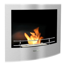 Black and Stone - Ethanol-Fueled Curved Built In Indoor/Outdoor Fireplace - Stainless Steel - Features: