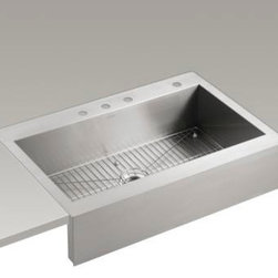 "KOHLER - KOHLER K-3942-4-NA Vault Top-Mount Single Bas Sink with Shortened Apron-Front - KOHLER K-3942-4-NA Vault top-mount single basin stainless steel sink with shortened apron-front for 36""cabinet in Not Applicable"