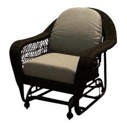 Forever Patio - Catalina Traditional Wicker Swivel Glider, Sable Wicker, Mushroom Cushions - The Forever Patio Catalina Single Glider with Sable Wicker with Beige Sunbrella® Cushions (SKU FP-CAT-SG-SB-MS) features a deep-seated design and sweeping curves, making it both incredibly comfortable and stylish. The UV-protected, Sable-colored wicker incorporates subtle shifts in tones, providing a look that is complex and beautiful. This chair includes fade- and mildew-resistant Sunbrella® cushions.