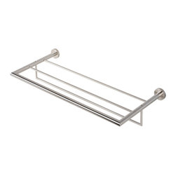 Geesa - Stainless Steel Towel Rack or Towel Shelf with Towel Bar - Contemporary style wall bath towel shelf with towel bar. Shower wall towel rack and bar made out of stainless steel in a brushed nickel finish. Bath shelf easily mounts with screws. Made in the Netherlands by Geesa. Single shelf towel rack. Modern design. Made out of stainless steel. Brushed nickel finish. Easily mounted with screws. From the Geesa Nemox Stainless Steel Collection.
