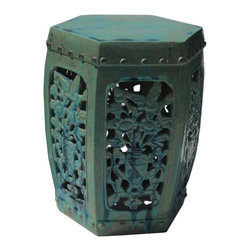 Golden Lotus - Chinese Turquoise Hexagon Flower Bird Pattern Clay Stool - This clay stool is hand-made and glazed with  turquoise color. It is in hexagon shape with see through motif of flower and bird on each face. Besides being a garden stool, this kind of stool is getting popular for decorating indoor home. It is mostly use as a table base/ small coffee table, plant stand or simply as a decor item. ( please understand we will send the closest option for your order because there is variation for the hand-made item) Color may be different.