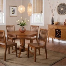"""Steve Silver Candice Round Pedestal Dining Table - We love the look of a round pedestal table especially one as timelessly charming as the Steve Silver Candice Round Pedestal Dining Table. Made of wood in your choice of finish it features a graceful turned base four radiating legs and a country-inspired design to dress up any dining room. Pairs with other pieces in the Candice dining collection. Table dimensions: 42 in. Diameter x 30H inches. This purchase is for dining table only please see """"""""Related Items"""""""" for matching chairs or complete dining set. About Steve Silver Since its founding in Forney Texas in 1987 the Steve Silver Company has had a simple focus: to provide the best quality product at an irresistible price back it up with uncompromising service and continue to improve every day. As one of the premier suppliers of dining sets and occasional furniture in the country Steve Silver is proud to make you the customer its top priority utilizing state-of-the-art equipment proven operating procedures and over 500 000 square feet of facilities. You'll feel equally proud displaying furniture from the Steve Silver Company in your home."""