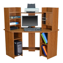 Regency - Regency Rta Corner Computer Workstation in Warm Cherry - Regency -Computer Desks -PDSCNR6025WC -Stylish and practical the RTA corner computer workstation is a perfect choice for your modern home or office space. The workstation offers multiple fixed shelves to stash your books magazines stationery items and more. The CD racks lets you organize your CDs DVDs or blu-rays. An enclosed storage cabinet allows concealed storage of your everyday essentials. With a minimalist design and warm cherry finish this computer workstation can blend in with a range of interiors.