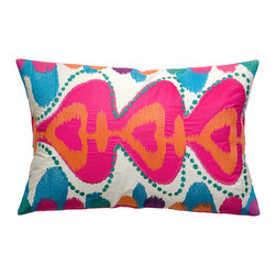 "KOKO - Totem Pillow, Pink/Mouve/Green, 13"" x 20"" - Do you want a quiet couch? Didn't think so! Throw out a rainbow of radiant hues, plus the feel-great textural quality of embroidery and appliqué on imported cotton."