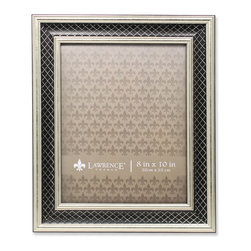Lawrence Frames - 8x10 Haber Silver and Black Lattice Picture Frame - High quality burnished silver and black composite picture frame with lattice embossing.  Beautifully finished picture frame that will be a great decorative addition to any room.  Comes with a two way easel for vertical or horizontal table top display, and hangers for vertical or horizontal wall mounting.  High quality black velvet backing.  Picture frame comes with glass to protect your photo, and is individually boxed.