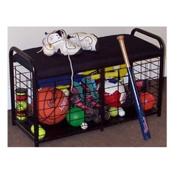 "JJ International, Inc. - Sports Organizer Bench 36""L-Black - Sports Organizer Bench 36""L-Black"