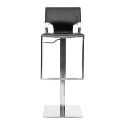 "Safavieh - Armondo Gas Lift Barstool - The Armondo Gas Lift Barstool proves It's still hip to be square. Looking like a modern stainless steel sculpture with its square base and pedestal crossed by a footrest and supporting a contemporary seat and back of bonded black leather, the Armondo Gas Lift Barstool will add a sleek touch to any room. The seat height can be raised from 22.4 to 31.5"". Assembly required."
