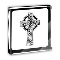 "Made on Terra - Celtic Cross High Cross Mini Desk Plaque and Paperweight - You glance over at your miniature acrylic plaque and your spirits are instantly lifted. It's just too cute! From it's petite size to the unique design, it's the perfect punctuation for your shelf or desk, depending on where you want to place it at that moment. At this moment, it's standing up on its own, but you know it also looks great flat on a desk as a paper weight. Choose from Made on Terra's many wonderful acrylic decorations. Measures approximately 4"" width x 4"" in length x 1/2"" in depth. Made of acrylic. Artwork is printed on the back for a cool effect. Self-standing."