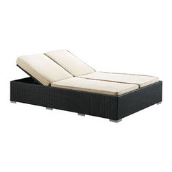 """LexMod - Evince Outdoor Patio Chaise in Espresso White - Evince Outdoor Patio Chaise in Espresso White - Fuse together balanced portrayals with the Evince Chaise Lounge. Bring a tangible expression to your outdoor porch or pool setting from heightened perspectives. With a dual-adjustable upper portion and cushions on an espresso rattan base, demonstrate your objectives while holding onto guarded elegance. Set Includes: One - Evince Two -Seater Outdoor Wicker Patio Chaise Recliner Synthetic Rattan Weave, Powder Coated Aluminum Frame, Water & UV Resistant, Adjustable Recline/Incline (as shown), Machine Washable Cushion Covers, Ships Pre-Assembled Overall Product Dimensions: 79""""L x 47""""W x 14""""H Seat Height: 14""""H Cushion Depth: 4""""H - Mid Century Modern Furniture."""