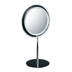 Decor Walther - Decor Walther BS 15 Cosmetic Mirror - Sometimes it can be quite annoying when power cables run visible because structural circumstances require Sun Although you can fix the problem with wall lights with an extra outlet, but this is no longer possible for a table lamp. Decor Walther now has a solution at hand, and this is not only simple and easy, but also still very chic: The BS 15 cosmetic mirror requires no electrical outlet in order to bring to light his 36LEDs, but only 3 AA batteries. These are placed at the bottom of the base and feed the vanity mirror with normal use for a long time with energy. The light is switched using a switch on the back of the mirror. Who then some forgets to turn off the light, must also continue to fret not: The BS 15 light will automatically switch off after 10 minutes, thus increasing the life of the batteries. Visually, the vanity mirror is an eye catcher because Decor Walther has combined uncompromising high quality processing with a stylish chrome finish.  Product Details:  The BS 15 cosmetic mirror has been designed and made by Decor Walther. Sometimes it can be quite annoying when power cable run visible because structural circumstances require Sun although you can fix the problem with wall lights with an extra outlet, but this is on longer possible for a table lamp. Decor Walther now has a solution at hand, and this is not only simple and easy, but also still very chic: The BS 15 cosmetic mirror requires on electrical outlet in order to bring to light his 36 LEDs, but only 3 AA batteries. These are placed at the bottom of the base and feed the vanity mirror with normal use for a long time with energy. The are placed at the switched using a switch on the back of the mirror. Who then some forgets to turn of the light, must also continue for fret not: The BS 15 light will automatically switch off after 10 minutes, thus increasing the life of the batteries. visually, the vanity mirror is an eye catcher because Dec