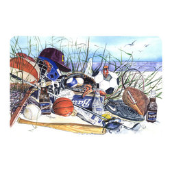 Caroline's Treasures - Sports On The Beach Kitchen Or Bath Mat 20X30 - Kitchen or Bath COMFORT FLOOR MAT This mat is 20 inch by 30 inch.  Comfort Mat / Carpet / Rug that is Made and Printed in the USA. A foam cushion is attached to the bottom of the mat for comfort when standing. The mat has been permenantly dyed for moderate traffic. Durable and fade resistant. The back of the mat is rubber backed to keep the mat from slipping on a smooth floor. Use pressure and water from garden hose or power washer to clean the mat.  Vacuuming only with the hard wood floor setting, as to not pull up the knap of the felt.   Avoid soap or cleaner that produces suds when cleaning.  It will be difficult to get the suds out of the mat.