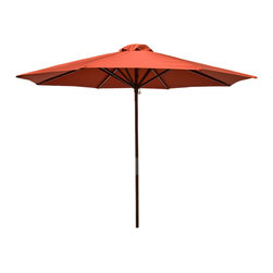 DestinationGear - Classic Wood 9 ft Market Umbrella - Chili, Chili - Dress your summer gatherings in the classic style of the Classic  9 ft. Wood Market Umbrella. Available in a variety of fun colors, this umbrella is supported by six durable ribs and erected by a wide wooden pole fashioned in a versatile dark brown. The protective canopy is ideal for entertaining, as it protects you and your loved ones from harmful UV rays and uncooperative weather, in addition to making the whole outdoor space look great. Complete with an easy-to-operate lift system.
