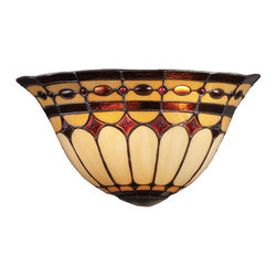 ELK Lighting - ELK Lighting 08032-BC Diamond Ring 2 Light Wall Sconces in Burnished Copper - This forever lasting collection fits perfectly in just about every d�cor. The diamond ring pattern features oven-bent panels in hues of honey and amber which are enhanced by an exquisite blend of neutral toned stones and finished in a stately Burnished Copper (BC).