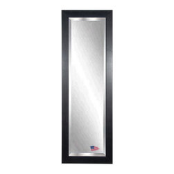 Rayne Mirrors - American Made Black Superior 20.5 x 59.5 Slender Beveled Body Mirror - Inviting black creased texture and finish will compliment a wide range of home decor styles, from traditional to rustic, modern and more.  Offer a stylish upgrade to your wall space with this stunning tall mirror. Each Rayne mirror is hand crafted and made to order with American products.  All hardware included for vertical or horizontal hanging, or perfect to lean against a wall.