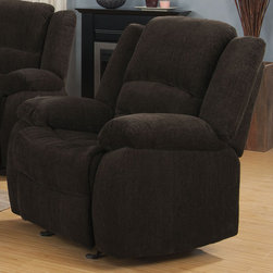 Coaster - Gordon Glider Recliner, Dark Brown - Enjoy comfortable lounging on ultra soft chenille and triple channeled fiber filled back cushions on our Gordon collection. Also features motion reclining, a wood frame and plush back cushions for great lumbar support. Invite comfort and casual style into your home with this motion collection.