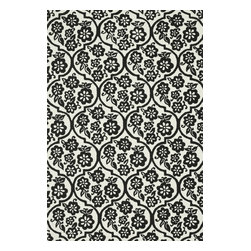 """Loloi Rugs - Loloi Rugs Venice Beach Collection - Ivory/Black, 2'-3"""" x 3'-9"""" - The Venice Beach Collection brightens up your home - inside or out - with a series of appealing, modern, hand-hooked designs from China. Made of 100-percent polypropylene, the rugs are UV and mildew-resistant."""