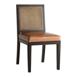 "Redford House Furniture - Redford House Oliver Side Chair - The Redford House collection of furniture and home decor reproductions marries style and function. The Oliver side chair lends timeless, sophisticated design to living rooms and dining rooms. Crafted with a classic caned back and simple wood frame, this furnishing's plush seat cushion offers elevated comfort. Shown in black with stained caning and saddle brown leather, this piece is available in several finish and upholstery options. Satin luster and distressing options created from a unique multi-layered lacquer and antiquing process. Its hand-finished nature and use of high-quality lacquer dye lots account for potential color and texture variances. Please contact shop@laylagrayce.com for further instructions on sending COM fabric. 20""W x 21.5""D x 37""H. Seat to floor: 20""H."