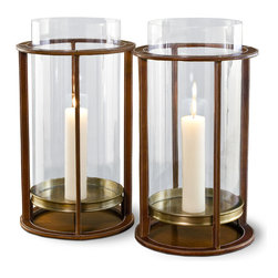 Kathy Kuo Home - Pair Rustic Tahoe Modern Leather Hurricane Candle Holders - A relaxed, modern elegance comes naturally to this pair of generously proportioned hurricanes.  The combination of brown leather and brass finish give it a somewhat masculine imprint, perfect for lodges or lounges.