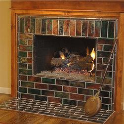 "Raku Fireplace Hearth - Raku Fireplace 5'h x 5'w composed of 3""x 8"" earthenware tiles."